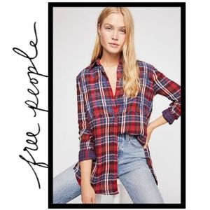NWT Free People Magical Plaid Embroidered Shirt